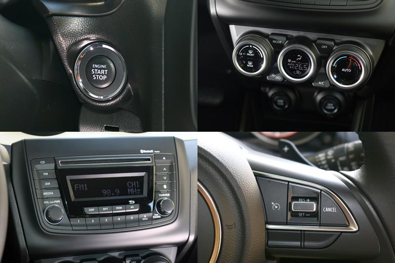 全新Swift在配備部分頗為豐富,包括:引擎啟閉鈕、恆溫空調、多功能音響主機、定速系統都是標準配備。
