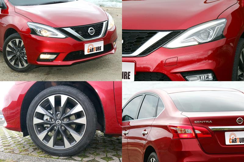 導入了Nissan當前的V motion家族設計語彙與LED燈組,讓Sentra變得年輕許多,試駕的尊爵版車型,還配置了雙色的17吋鋁圈。