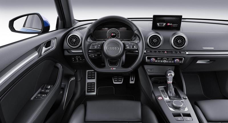 內裝部分,則搭配S3專屬套件,附S3專屬鋁合金迎賓門檻踏板、跑車型前座椅、三輻式真皮多功能跑車方向盤與S專屬排檔座,提供駕駛者絕佳的操縱手感和乘坐包覆性;不僅如此,在12.3吋Audi Virtual Cockpit中更是搭配專屬儀錶畫面,同時搭配 MMI navigation plus 多媒體系統,更標配Bang & Olufsen 3D立體環繞音響系統和全景式玻璃電動天窗,完整打造實用機能性與駕馭樂趣齊備的個性化座駕。