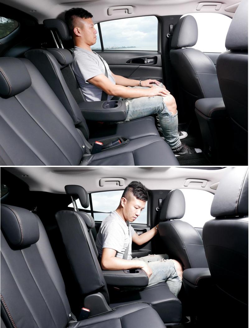 後座椅背具備8向可調角度與前、後滑移200mm的能力