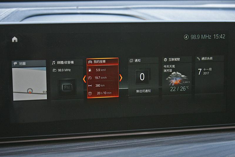 iDrive控制系統具有10.25 吋中控觸控螢幕。