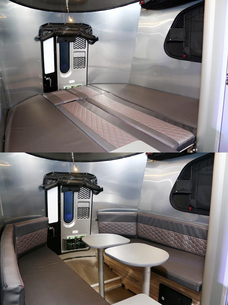 Basecamp的沙發區可乘坐5~6人乘坐,並可改變為雙人床,仍十分寬敞,要多兩個小孩睡也不成問題。