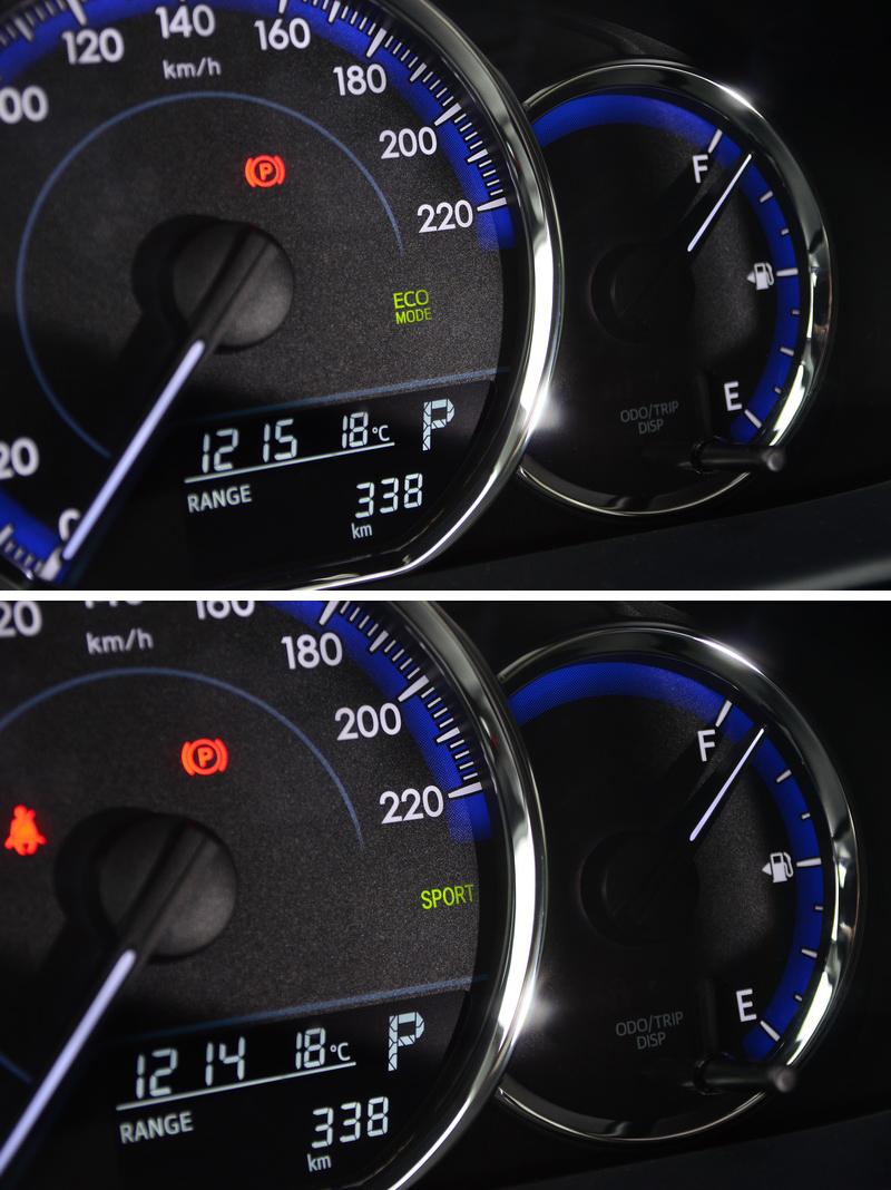 不同模式下儀表會同步以圖示顯示