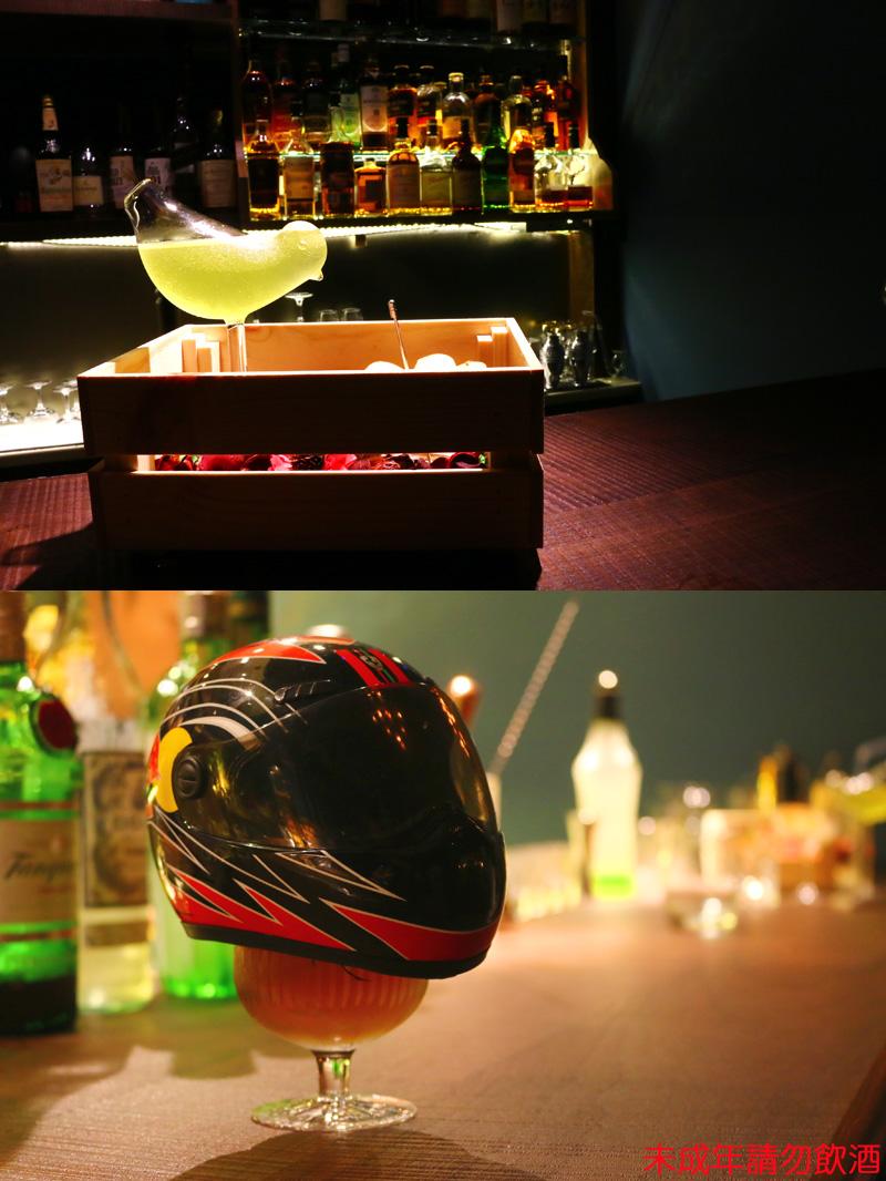 店內調酒皆有根據賽車主題設計十分有特色。