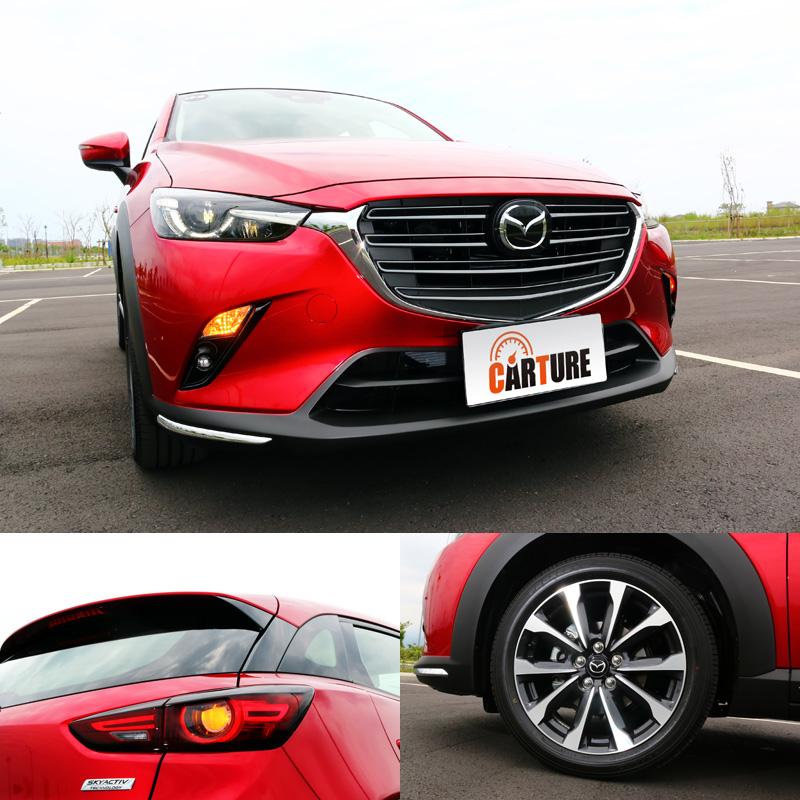 新CX-3外觀最大改變就是換了水箱護罩的樣式,車前下擾流兩側加上鍍鉻飾條點綴;尾燈則融入累活塞概念,再搭配全新的雙色輪圈。
