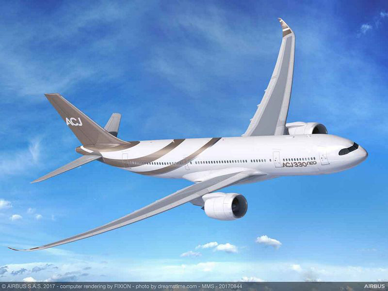 ACJ330neo是AIRBUS於2017年推出的最新世代寬體商務客機,機內擁有約215.6平方公尺〈約65.2坪〉的寬敞空間,可搭載25人,最大航程達17400km,可由台灣桃園機場直飛南美洲西北半部都不成問題。
