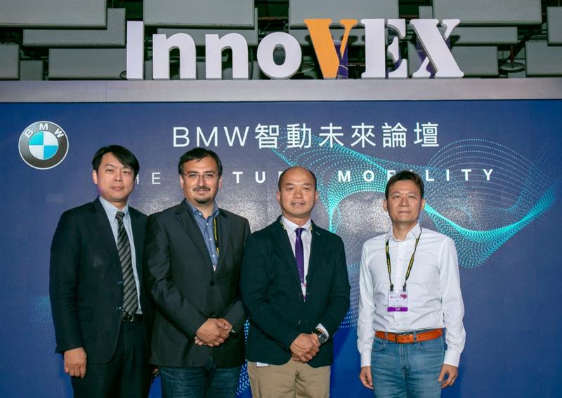 [新聞照片四] BMW集團首席UIUX設計師Dr. Mario Urbina Cazenave (左二),與台灣重量級專業講者同場對談,包含7STARLAKE喜門史塔雷克丁彥允總經理(右一)、Qualcomm Taiwan台灣高通劉思泰總裁(右二),與ASUS Cloud華碩雲端吳漢章總經理(左一)。