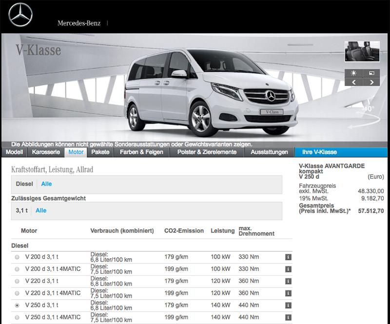 Mercedes-Benz V 250d Avantgarde德國原產地空車完稅價竟僅57,512.7歐元(相當於新台幣205.6萬元),比起Multivan 2.0 TDI Highline的62,986.86歐元低上不少。