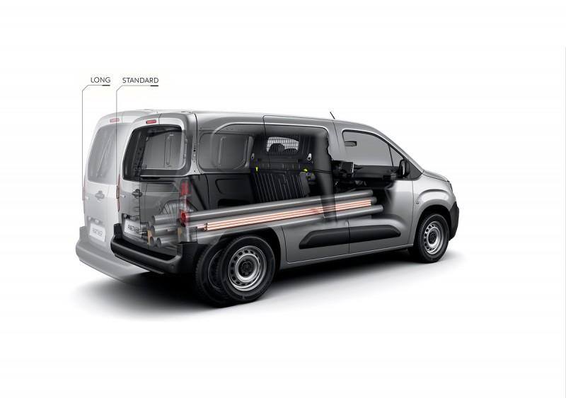 全貨車版Partner也有兩種車長/軸距車型,最右邊副手座還能放倒便於裝載長型貨物