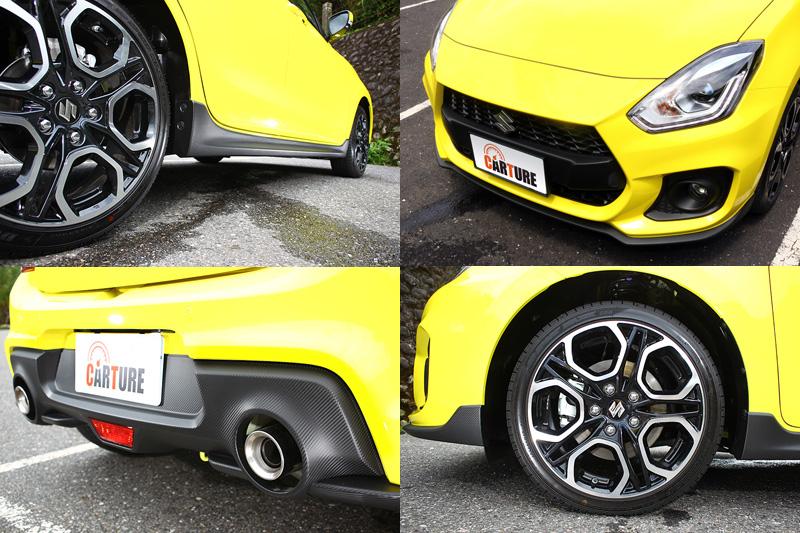 Swift Sport較一般版本增配進氣口加大的前保桿、17吋雙色鋁圈、側裙與對應雙出排氣管的後保桿,左右雙出排氣管則是延續前代風格。