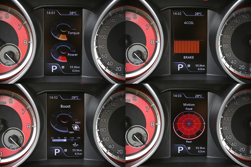 儀錶板中央的多功能顯示幕可顯示動力輸出、渦輪增壓與瞬間G值等性能化資訊。