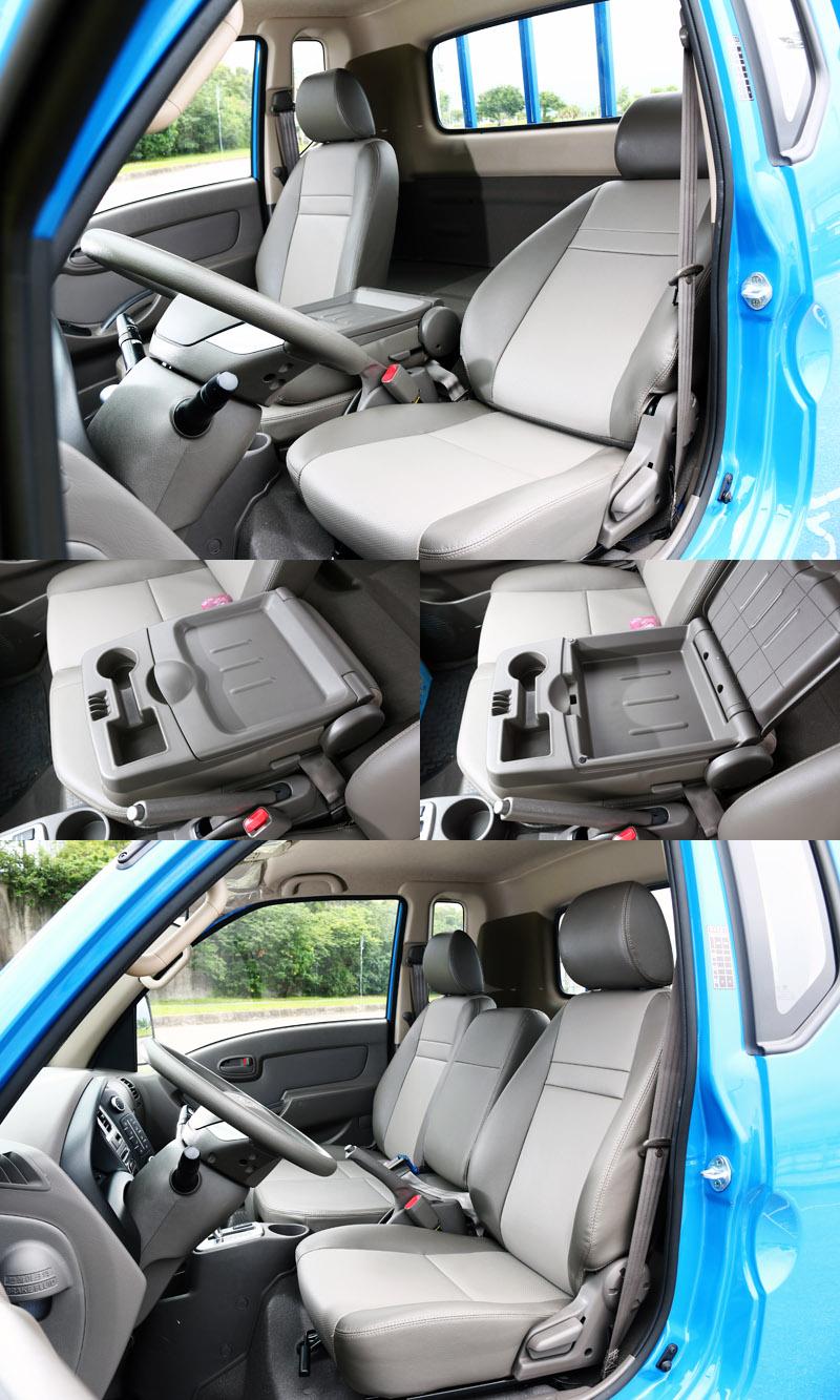 Hyundai Porter豪華型框式貨車在增加1/4廂後,給與座椅向後傾的空間,提升休憩機能,三座式座椅設定中央座椅可向前翻倒做為中央扶手與置物空間。