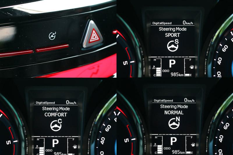 搭載之EPS 電子動力輔助轉向,具有Normal/Comfort/Sport三模式可切換。