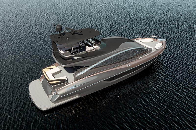 LY 650是一艘長65呎的豪華遊艇,以厚實渾圓的線條為設計主軸。