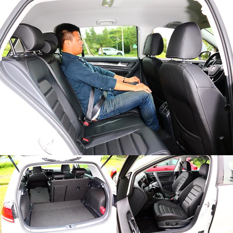 Golf雖然是四款車中尺碼最小的,但拜造型方正卻有最好的空間表現,乘坐感中規中矩,也是唯一有後座出風口的車款。〈乘坐人員身高172cm〉