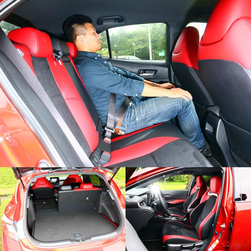 直指Mazda 3而來的Auris竟然可以在空間上跟著比小,而且視覺壓迫感還更大,但跑車化座艙設計與那兩張跑車座椅都會讓人忘了這是輛五門掀背車。〈乘坐人員身高172cm〉