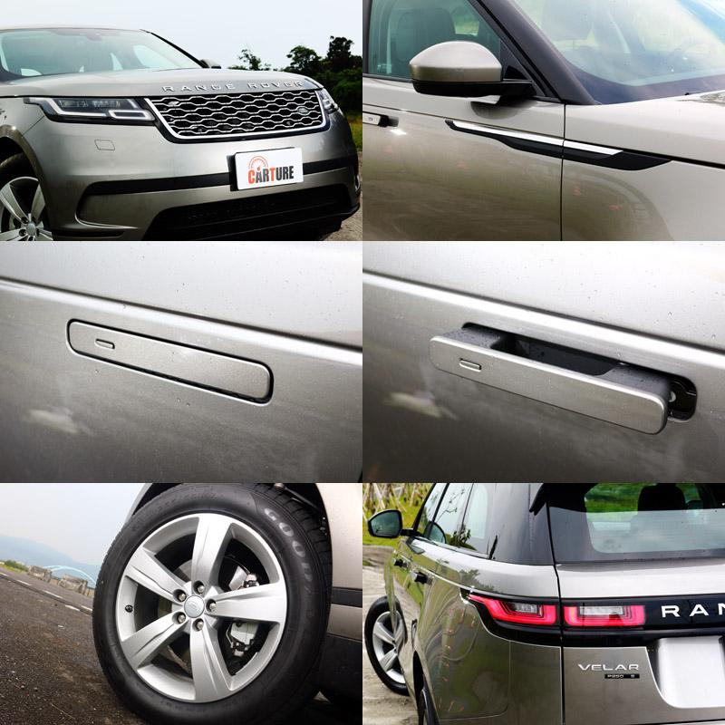 Range Rover Velar 保有了Range Rover蜂巢式水箱護罩、前葉子鈑飾條、深刻腰線等經典元素,而自動伸縮式車門把手則是全心特色。