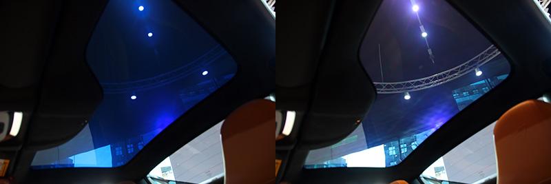 電控玻璃變色車頂可做5%透光度與95%透光度間調整。