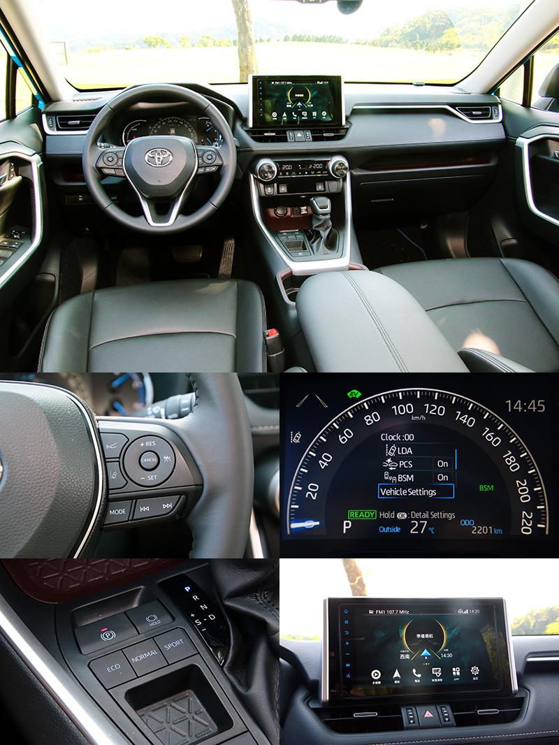 來勢洶洶的RAV4,配備上算是平水準表現,車載系統可透過網路連接原廠提供之愛車秘書&即時生活資訊等服務功能。