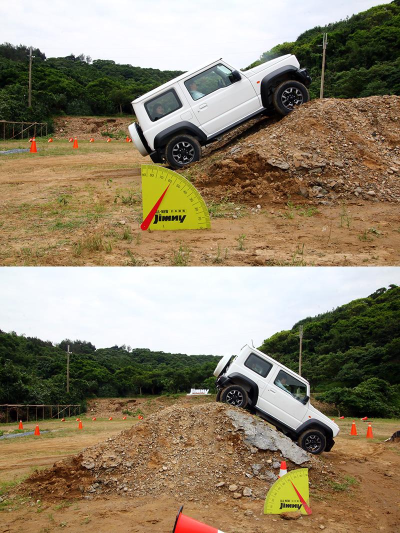 爬坡路段─用以體驗進入角與離去角,並配有斜坡輔助與緩降系統。