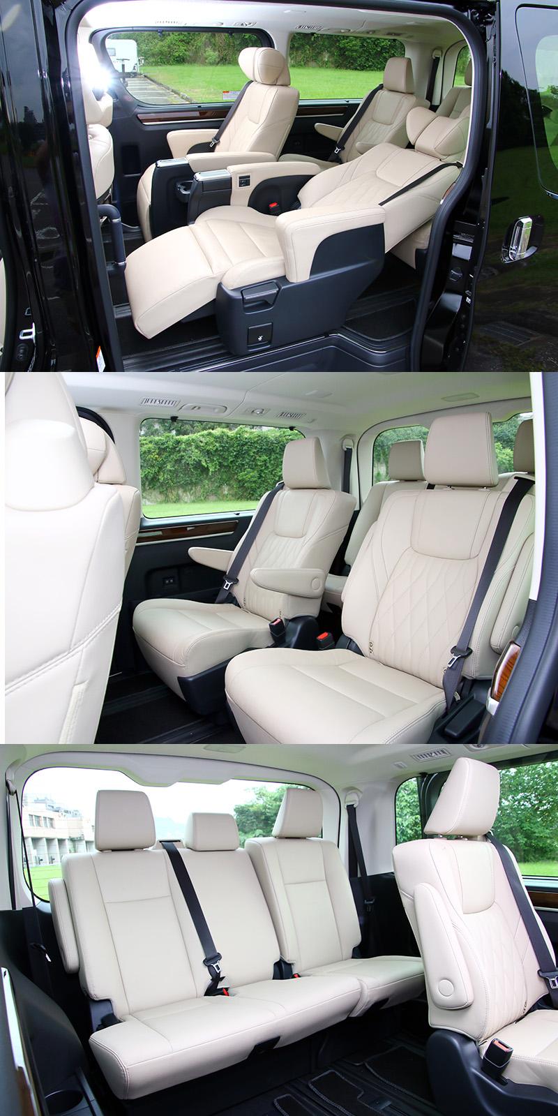 以載人為主要訴求的Granvia後三排座椅可提供超越所有同級車最舒適的人員乘坐空間,其中第二排採用具電動腳靠與電動椅背調整的雙Captain座椅。