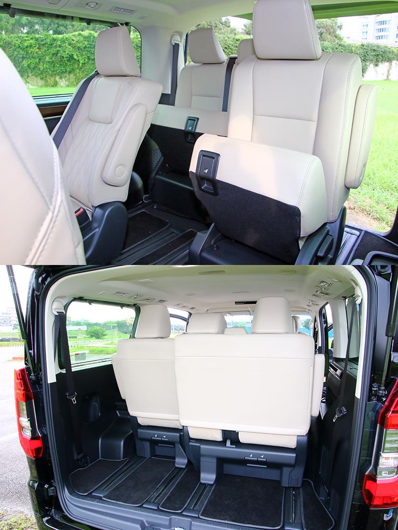 後行李廂空間須靠第四排座椅摺疊前移來騰出較大的空間。