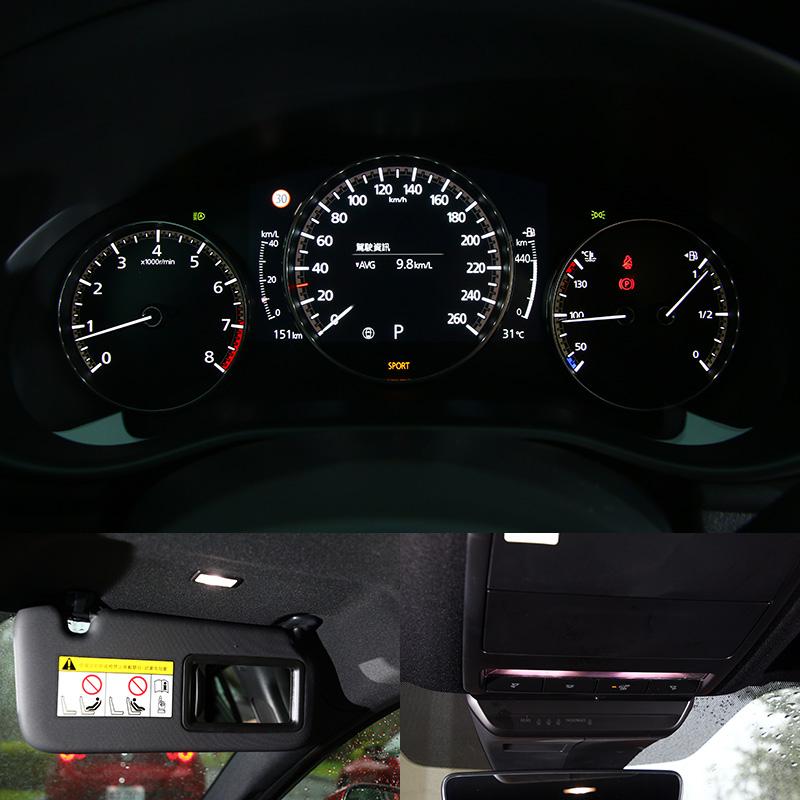 Mazda原廠表示在Mazda3就連燈光與背光的設置也有所講究,他們認為白光對於被照射之物體原來顏色最不會失真,同時也具較好的辨識性,因此車內皆以白色燈光為照明主軸,並利用不同角度、亮度來製造最好的辨識性與照明性,同時還兼具不易被車外窺探的影密性,就連這麼小的細節都經仔細設計。