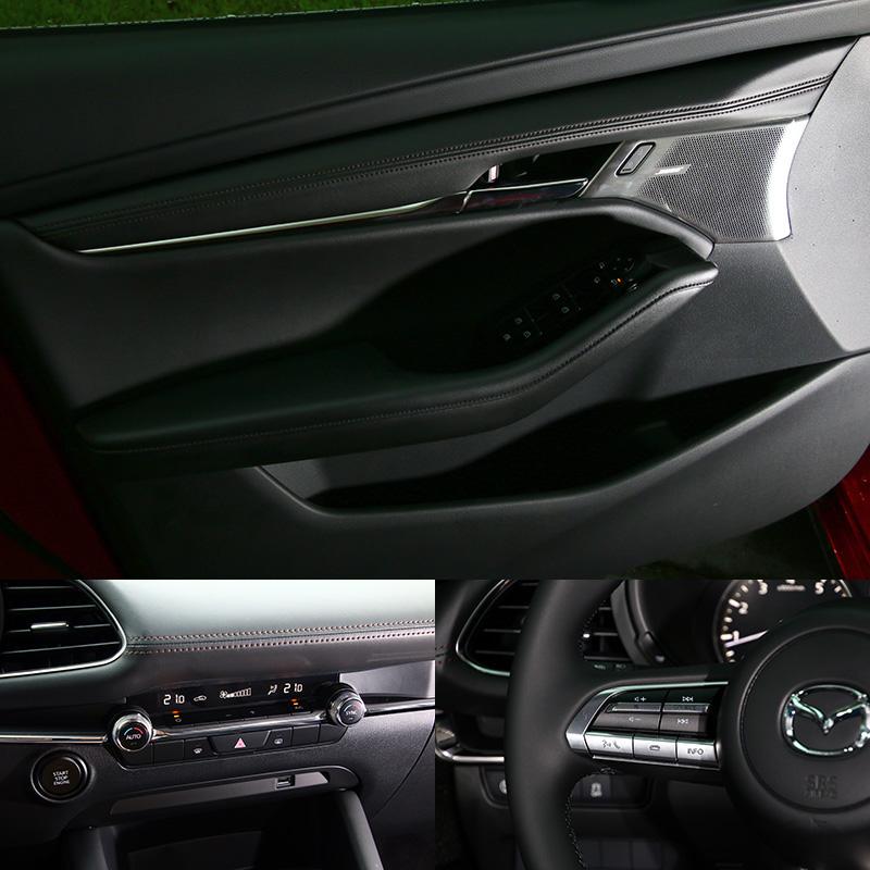 新Mazda3車內基本上就是以黑色為基調搭配褐色縫線,並儘在按鍵、出風口外框等小部分以類金屬材質點綴,減少了繁雜地顏色堆疊,並在材質與操作介面回饋之質感上精進,整體質感與設計勝過許多豪華車。