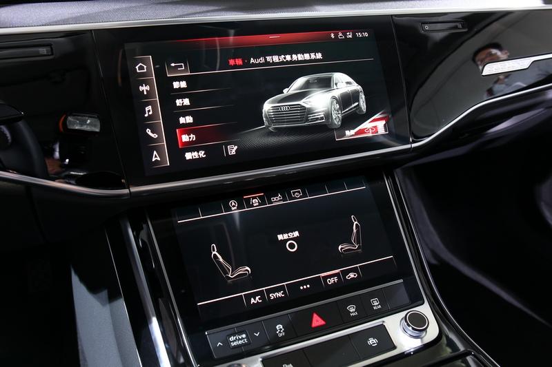 MMI touch response直覺式觸控系統,其中控台10.1吋與8.6吋的兩只液晶觸控顯示屏幕,創造出前所未有的操作體驗。
