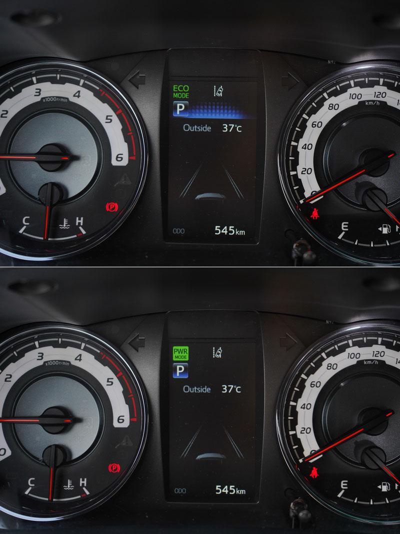 不同的駕馭模式也會在儀表中央的數位螢幕上顯示