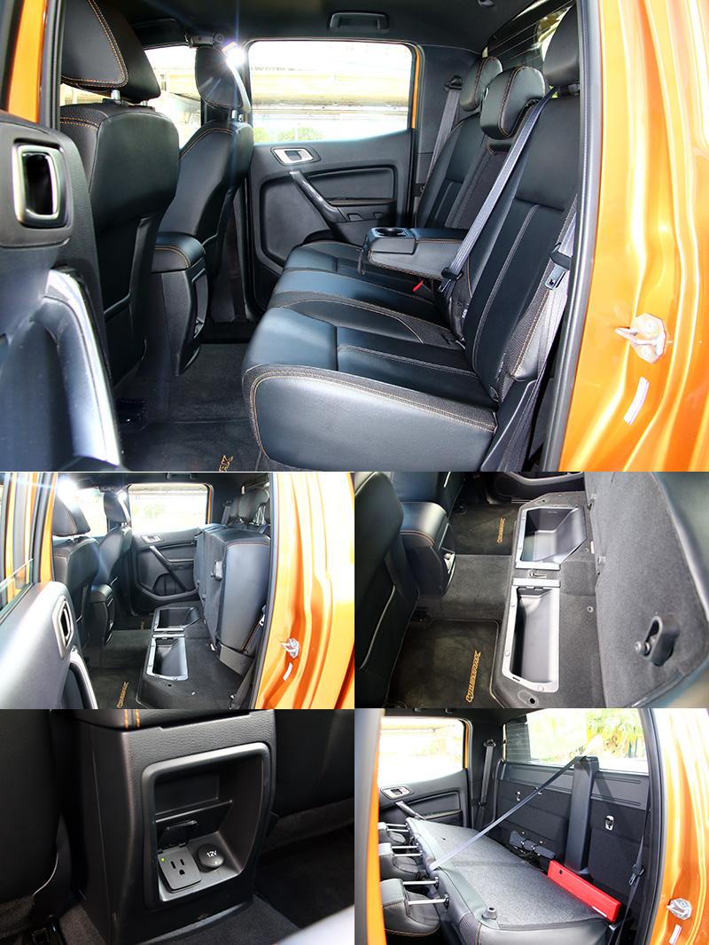 後座也具備椅背翻倒或坐墊上掀的功能並在椅墊下還是有置物槽增加運載機能,並在中央鞍座後方設有110V家用電源插座。
