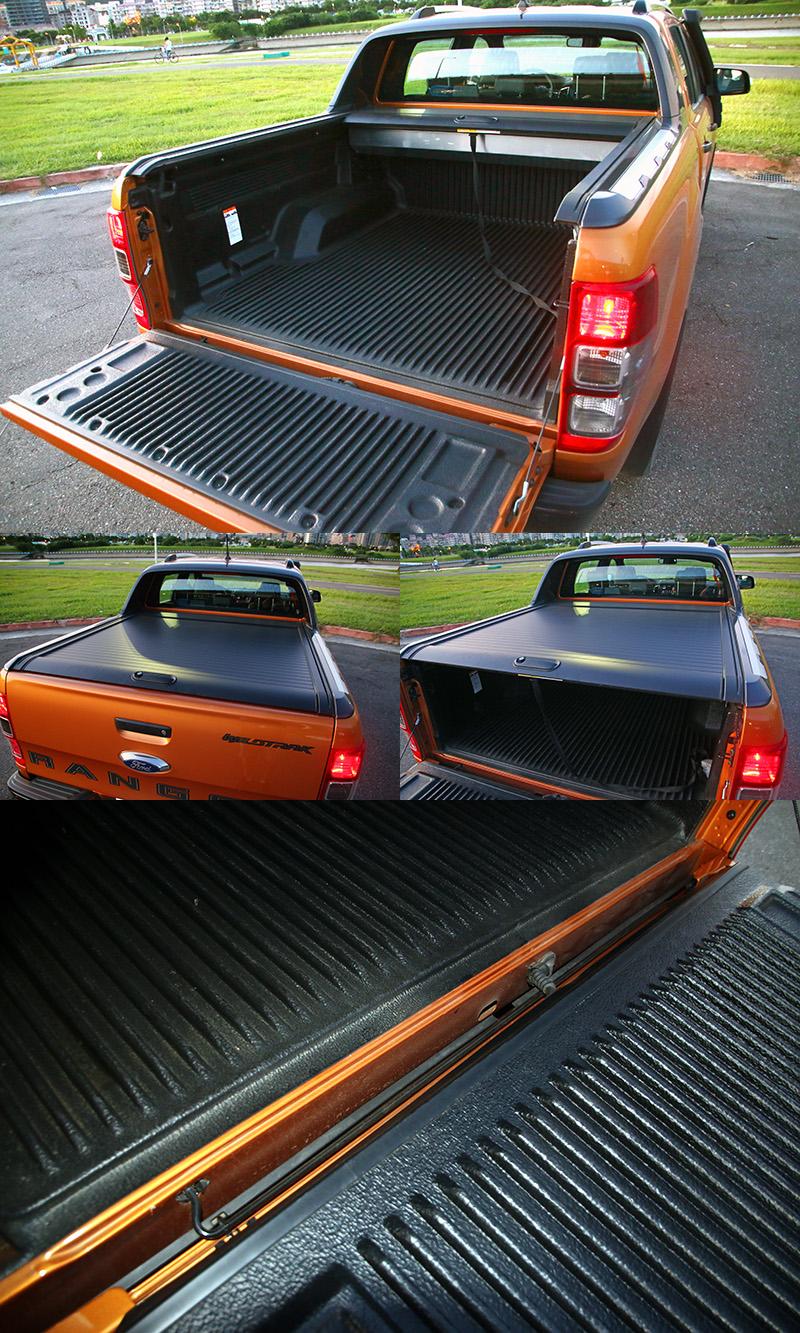 Ranger後貨斗尾門具有獨家的緩降裝置,讓尾門操作上更為輕盈便利,而試駕車配置的捲簾式艙蓋為原廠推出之加價套件。