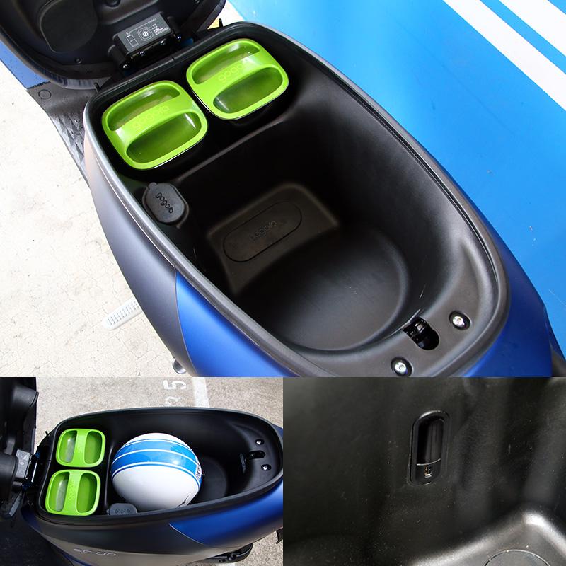 車廂大概可放進兩頂3/4罩的安全帽,並設有USB充電埠。