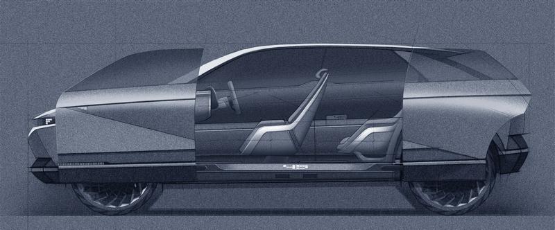 45 EV Concept車門採前後滑門設計。