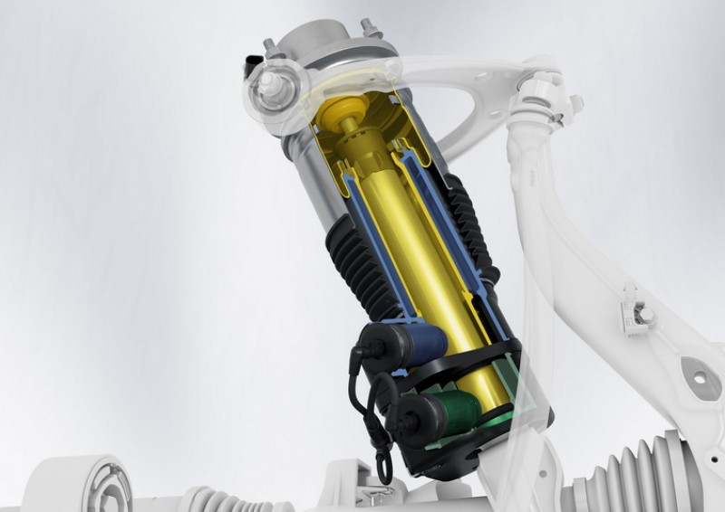 Taycan採用的阻尼系統為雙管式,重量比傳統單管式更輕且反應時間更短