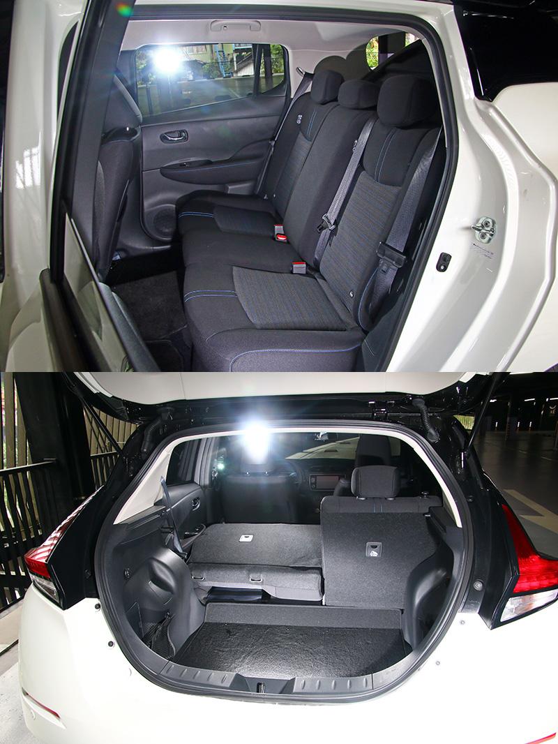 Leaf的車內空間大約與Tiida差不多,空間相當充裕。