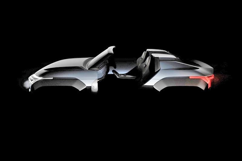 將圖片加亮可以隱約看出其輪廓,MI-Tech Concept不僅是敞篷設計而且還是雙座。
