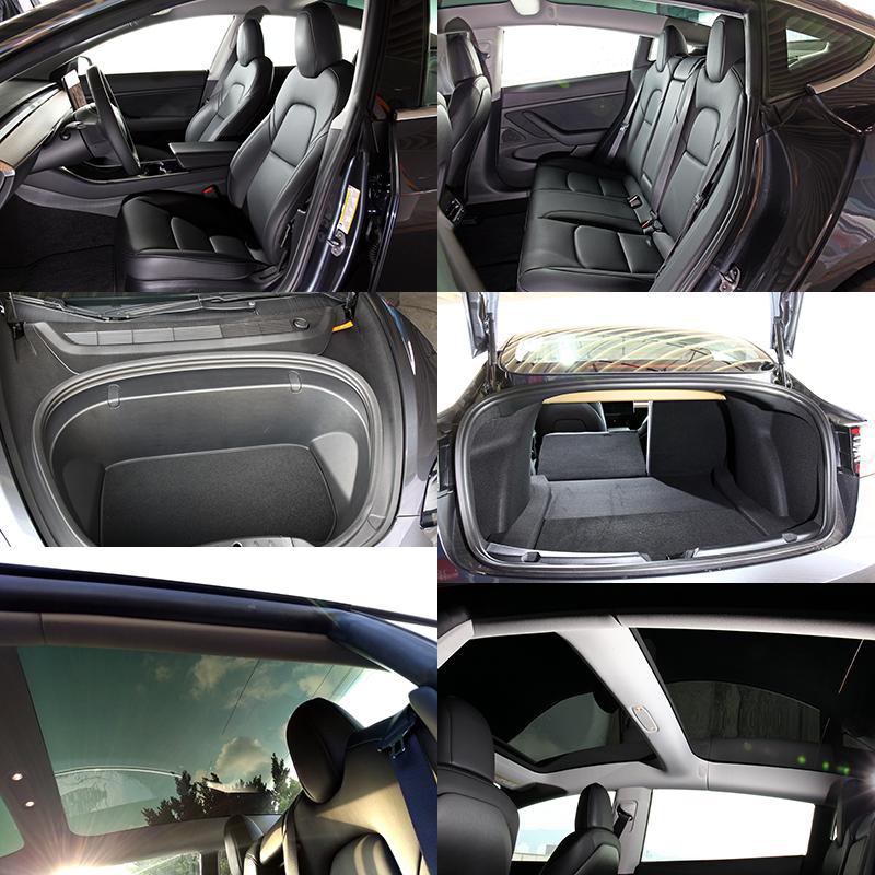 空間表現上,因電動車需要機械空間較少,所以乘坐與運載空間較燃油車款有優勢,Model 3亦配有大面積天窗增加視野。