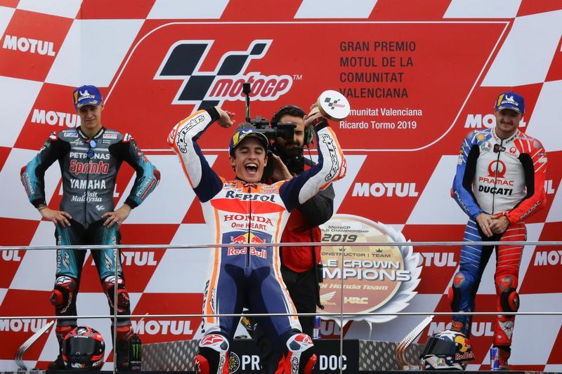 瓦倫西亞站前三名為Marquez、Quartararo、Miller。