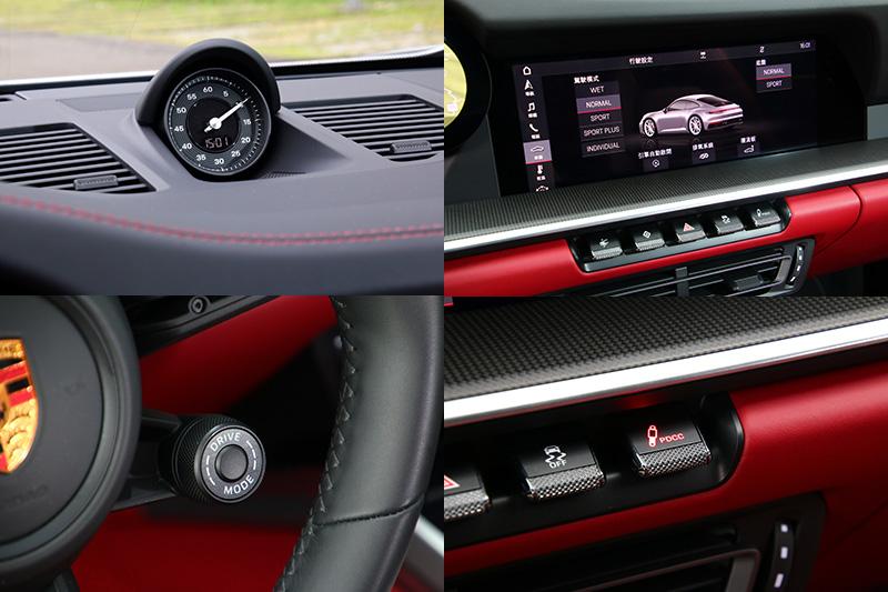 992世代911依舊可選配跑車計時套件,而車輛動態模式多了WET濕地模式,系統可利用設於前輪拱中的感知器,計算地面水量,給予車輛在溼地駕駛時最適切的動力輸出,同時方向盤右下方的模式旋鈕中央亦有超增壓按鈕,可提供20秒的超增壓動力輸出,另外試駕車還選了PDCC保時捷動態底盤控制系統 (含後輪轉向)。