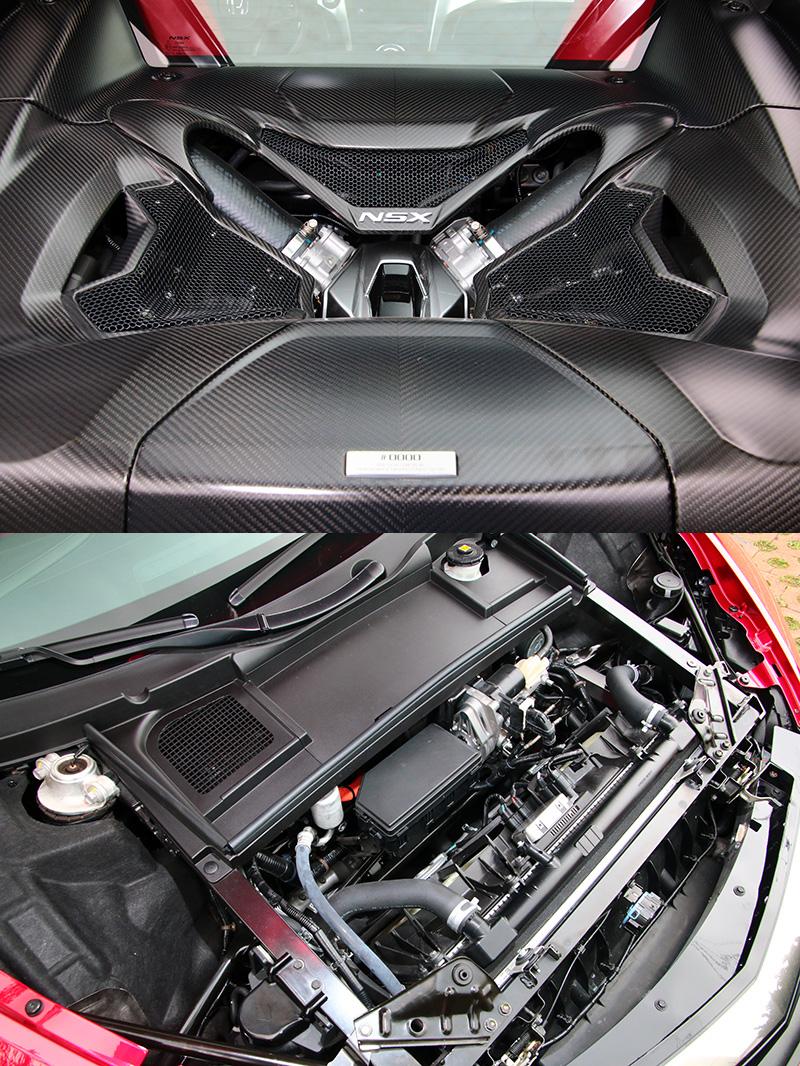 NSX搭載之油電複合動力系統,由一具3.5L 75度夾角V6 DOHC 雙渦輪增壓引擎,搭配分別裝置於前軸的兩具與後軸一具之電動馬達而成。