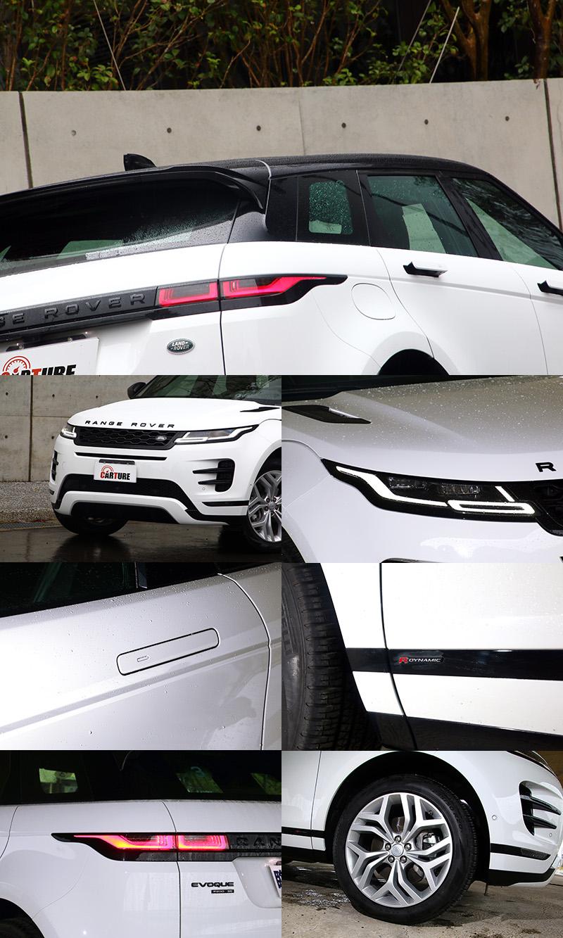 新Range RoverEvoque仍採懸浮式車頂設計,外觀設計語彙仍延續家族一致風格,而與前代最容易分辨的地方就是隱藏式的把手。
