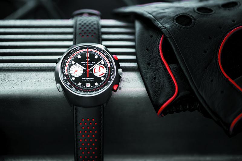 CHRONO-MATIC 50 黑紅撞色賽車風格錶帶