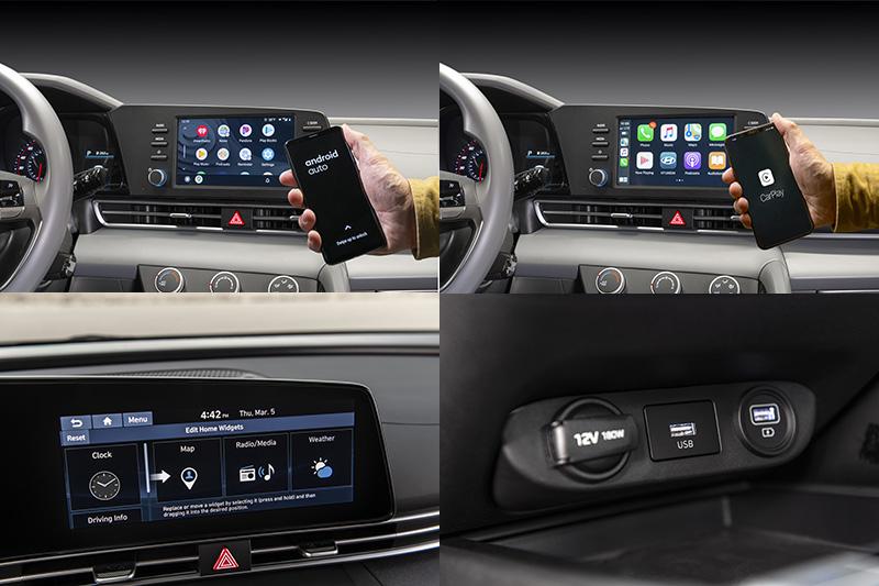 新Elantra標配具8吋螢幕多功能系統,並且可升級高階地10.25吋觸控螢幕系統,並首度導入無線Apple CarPlay™和Android Auto™連結功能。