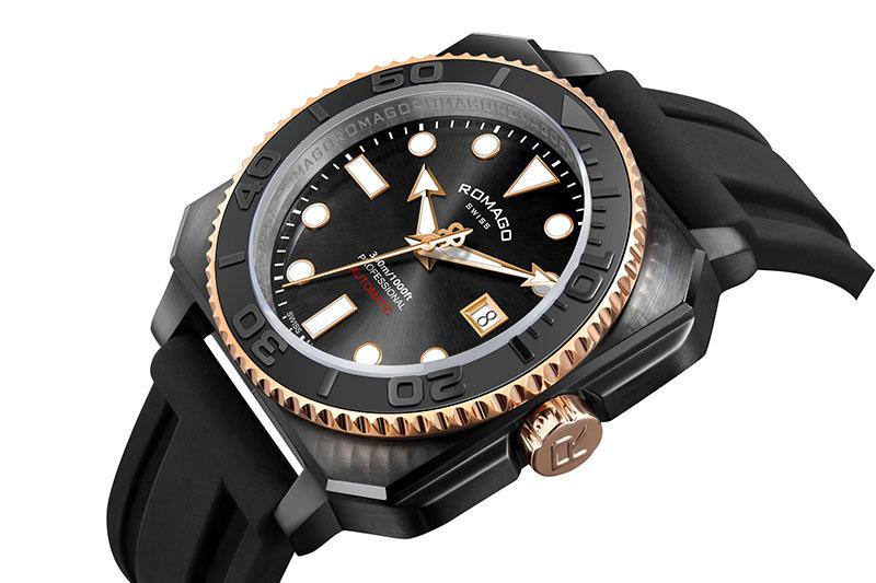 堆砌錶款立體層次的視覺效應一直是瑞士ROMAGO的設計特色與強項