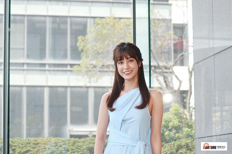 曾擔任Yamaha Vino平面廣告模特兒的陳敬宣,盛裝出席三立網劇《位!你在等我嗎?》發布記者會