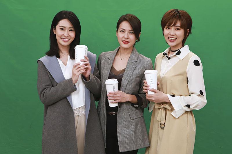 左起張郁婕、蘇晏霈、瑭霏拍攝防疫距離之閨蜜篇