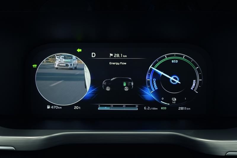 透過後視鏡攝影鏡頭,變換車道時儀表會顯是後方況狀影像。