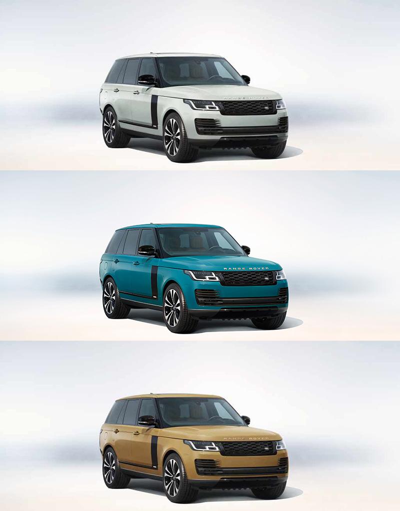 另可以極限量加價選配方式,提供由Special Vehicle Operations特製車部門 (SVO) 精心復刻的托斯卡納藍 (Tuscan Blue)、巴哈馬金 (Bahama Gold) 與達沃斯白 (Davos White) 三款初代 Range Rover經典車色選擇。