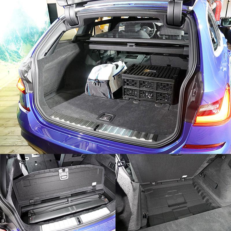 在330i Touring M Sport上之後廂安全分隔網以及行李廂捲簾都可收納至行李廂下方,並可可輕鬆將後廂區隔出不同大小收納區域;行李廂底部更首次搭載「後廂底板自動止滑功能」,底板上的防滑滑軌在車輛啟動時會自動微幅升起,減少後廂行李在旅途中滑動的狀況。